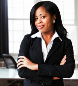 A confident African American businesswoman in her office.