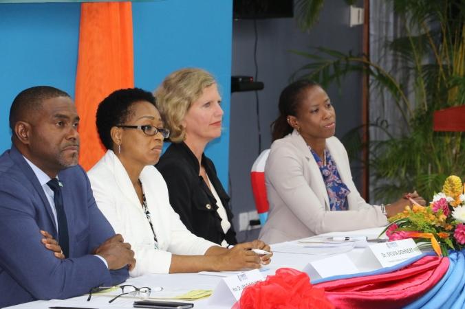 L-R - Senator Dr. Ubaldus Raymond, Michelle Charles, DPS, Dr. Sylvia Dohnert and Lisa Harding.JPG